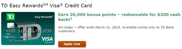 Td Bank Credit Card 200 Cash Back 5 In 3 Categories Danny The