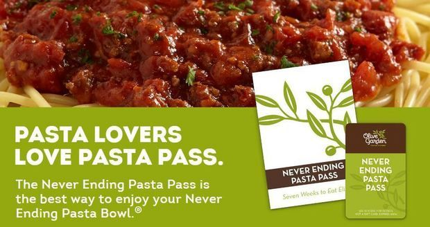 Olive Garden All You Can Eat Pasta For 7 Weeks For 100