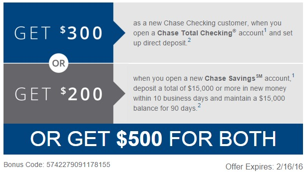 Chase Checking Savings 500 Combined Bonus Danny The Deal Guru