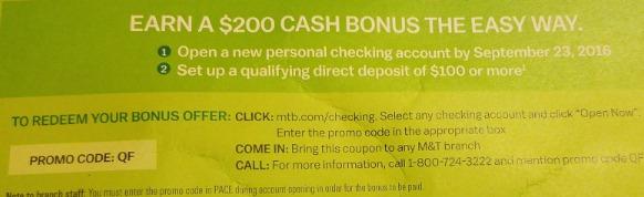 M&T Bank, $200 Checking Bonus - Danny the Deal Guru