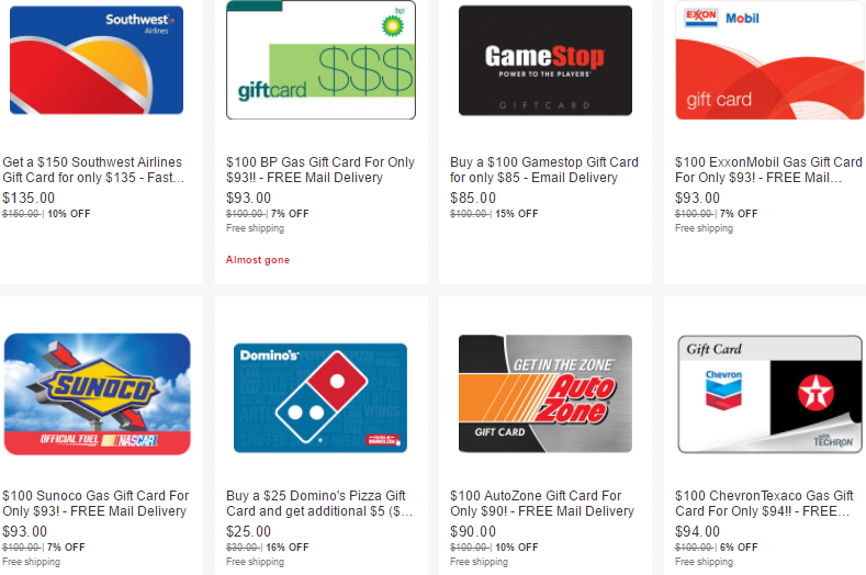 Discounted gift cards on ebay plus 5x ur points danny the deal guru negle Choice Image