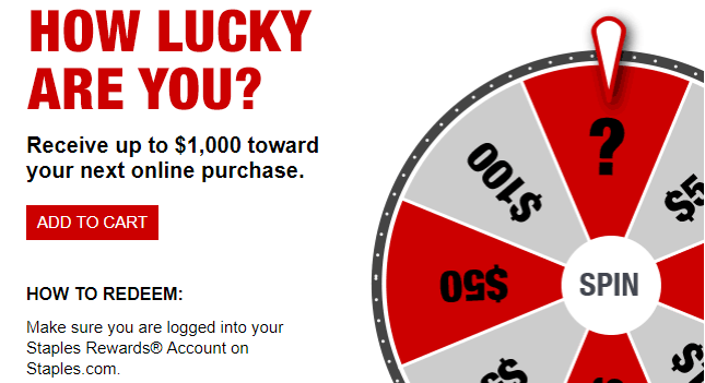 If a Rewards card is used for any portion of your payment, that portion of the payment is not eligible to earn cash back. Before placing any items in a shopping cart, ensure that you clicked through to Staples from this web site. Items placed in a shopping cart where you accessed Staples from another online location will not qualify for cash back.