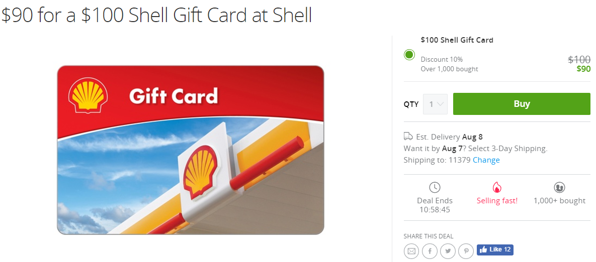 Groupon, $100 Shell Gift card For $90 - Danny the Deal Guru