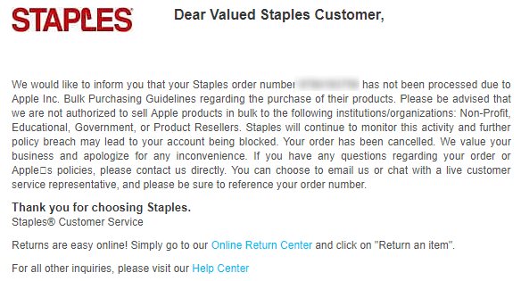 Staples Cancels Some iTunes GC Orders, Warns Of Accounts Being Blocked - Danny the Deal Guru