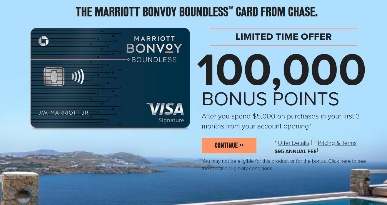 Chase Marriott Boundless Card 100k bonus
