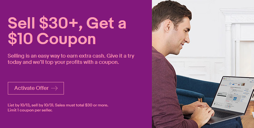 Ebay Seller Promo Get 10 Coupon When You Sell 30 Danny The Deal Guru